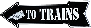 9Ginkgo& to Trains Arrow - Model Train Room Tin Wall Sign or Plaque TIN Sign 14 x 12 INCH