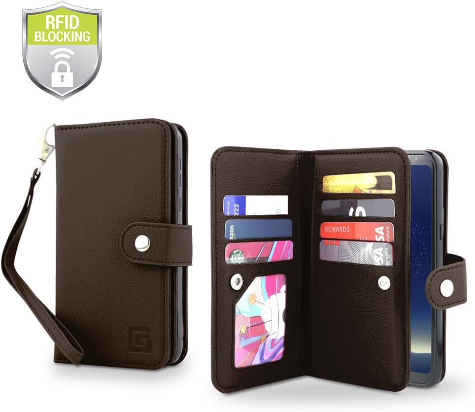 Gear Beast Galaxy S8 Plus Wallet Case, Flip Cover Dual Folio Case Slim Protective PU Leather Case 7 Slot Card Holder Including ID Holder Inner Pockets Wristlet for Men and Women
