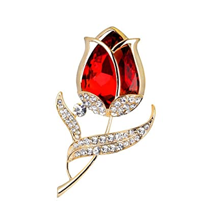 618c7358d YAZILIND Fashion red Zirconia Flowers Inlaid Rhinestones Brooch Corsage Women  Girls Accessories: Amazon.co.uk: Jewellery