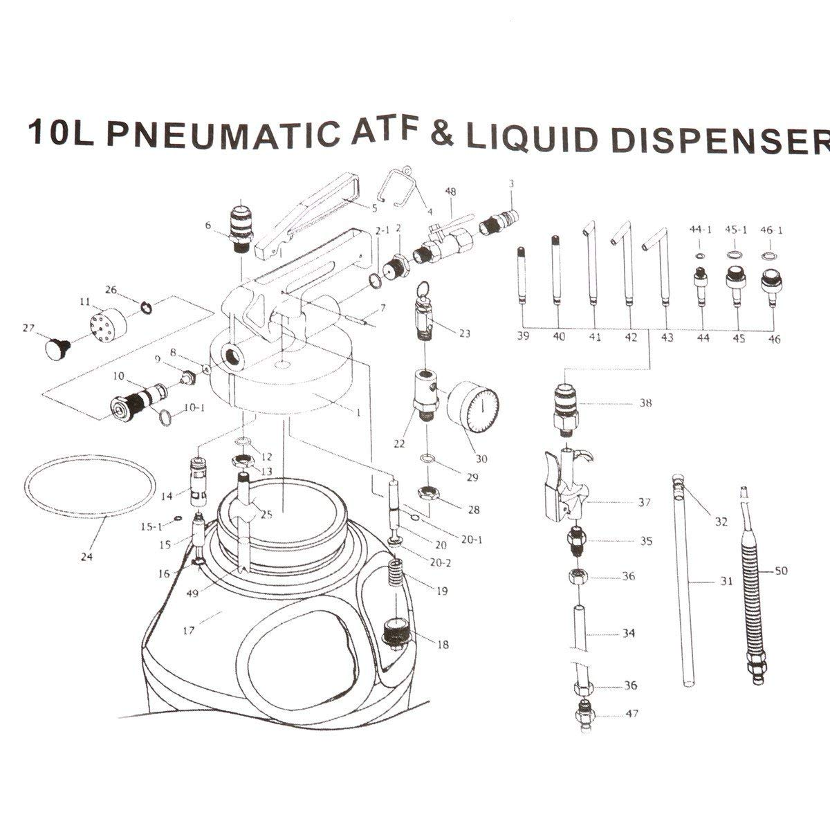 8MILELAKE 10L Two Way Pneumatic ATF Oil and Liquid Extractor with 14 pcs ATF Adapters Refill System Kit by 8MILELAKE (Image #5)