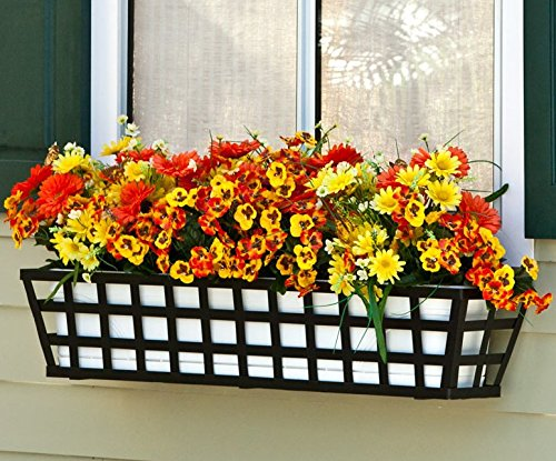 60 inch Santiago Taperred Iron Window Box with Vinyl Liner by Windowbox