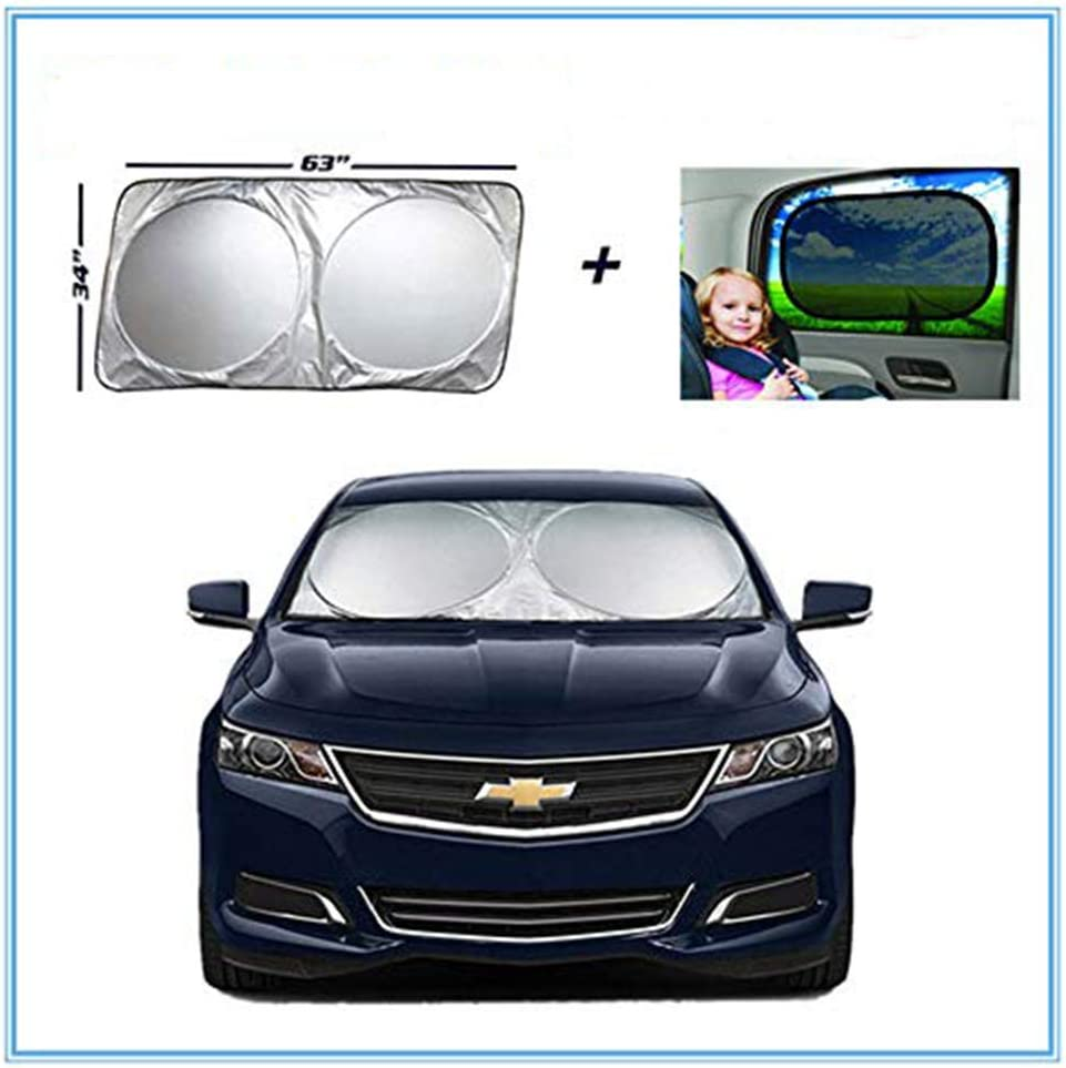 Dongzhen Windshield Sun Shade Bouns 2pcs Side Window Shade for car Windshield Shade 210T Reflective Fabric Blocks Sun Keeps Your Vehicle Cool Windshield Sunshade Universal Fit 63 x 34.86
