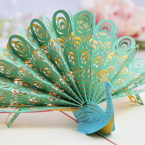 Peacock Green 3D Pop Up Card With Envelope, Laser Cut, Paper Art, Greeting Card, Party Invitation Card, Christmas (Peacock Green, 1 -