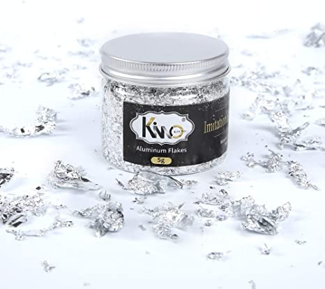 5 grams jar Arts Projects and Handcrafts Decorations Aluminum Foil Metallic Flakes for Gilding KINNO Imitation Gilding Foil Flakes
