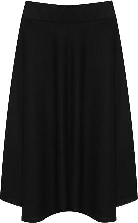 WearAll Femmes Plus Évasée Genou Longueur Patineur Jupe Dames Élastiquée  Étendue Plissé - Noir - 42 6c0df8374836
