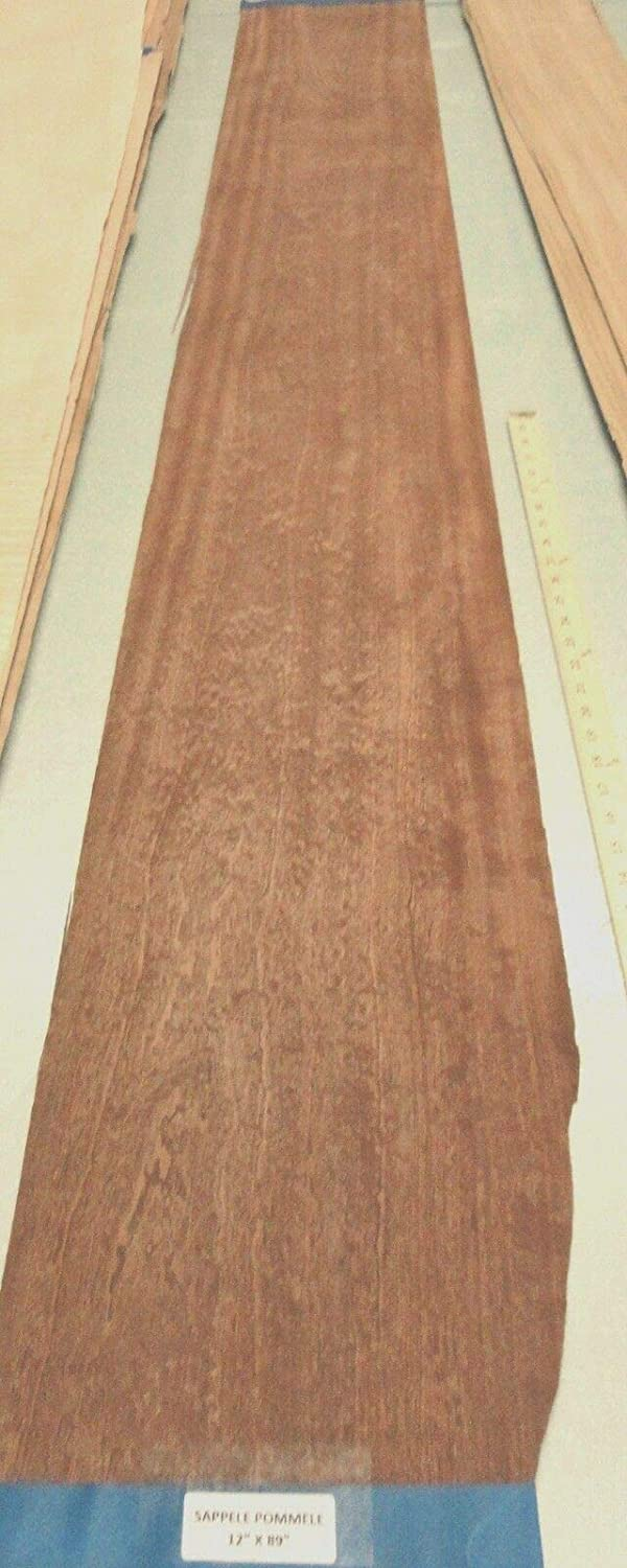 """Details about  /Sapele Pommele Quilt wood veneer 4/"""" x 9/"""" raw no backing 1//42/"""" thickness sample"""
