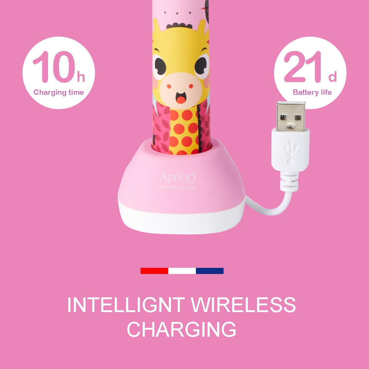 Apiyoo Kids Electric Toothbrush, A7 Sonic Wireless Rechargeable Toothbrush, IPX7 Waterproof with 3 Brushing Modes, 2 Min Smart Timer for Kids. (Pink) by Apiyoo (Image #6)