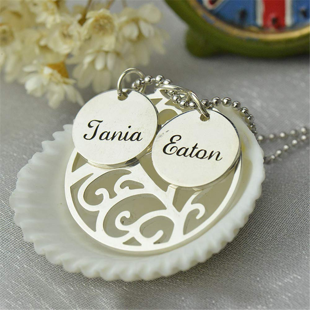 Shiny Alice Family Tree Necklace Personalized Mother Necklace Engraved Our Family Name Necklace Silver Nameplate Jewelry