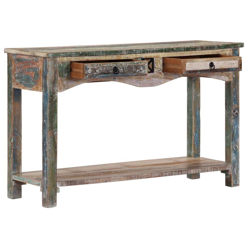 Tidyard Longitud x Anchura x Altura Mesa de Control para el hogar o la Oficina con 2 cajones de Madera Maciza reciclada 120 x 40 x 75 cm