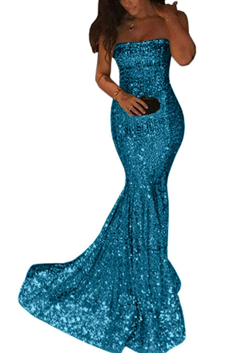 bluee ZLQQ Sequins Mermaid Prom Bridesmaid Dress Strapless Long Evening Party Dress for Women