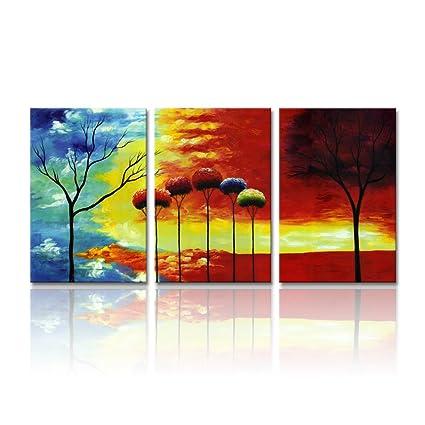 Abstracto Árbol pintura Art para pared, moderno árbol de colores ...