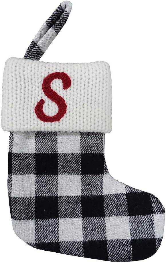 St. Nicholas Square Black and White Plaid Checkered Mini 7-inches Christmas Stocking (Letter S)