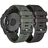 NotoCity Compatible Fenix 5X Plus Bands Sport Silicone Watch Strap for Fenix 5X/Fenix 5X Plus/Fenix 3/Fenix 3 HR(Black…