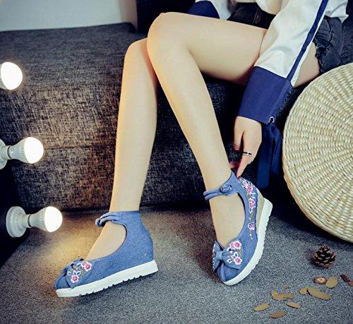 Zapatos zl Bordados Estilo Lino blue Femeninos c¨®modo del lenguado xiezi Ocasional aumentados Tend¨®n Manera Zapatos ¨¦tnico 4qd4z