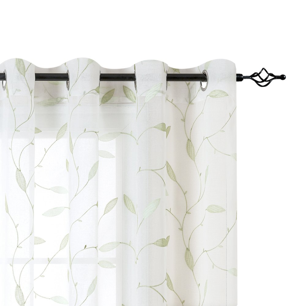 White Leaf Sheer Curtains for Living Room Curtains 84 Inches Long Grommet Top Floral Leaf Embroidery Voile Sheer Curtains for Bedroom Embroidery Window Curtains 2 Panels