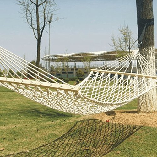 ZZSIccc Mesh Rope Hammock Thick Reinforced Cotton with Wooden Sticks Double Swing-Bed Outdoor Hammock red, Blue and 200*100cm