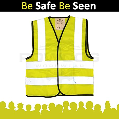 School Walking Cycling Childrens Yellow Hi Vis Vest High Visibilty Waistcoat