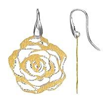 Sterling Silver Italian Plated Cutout Rose Shape Earrings