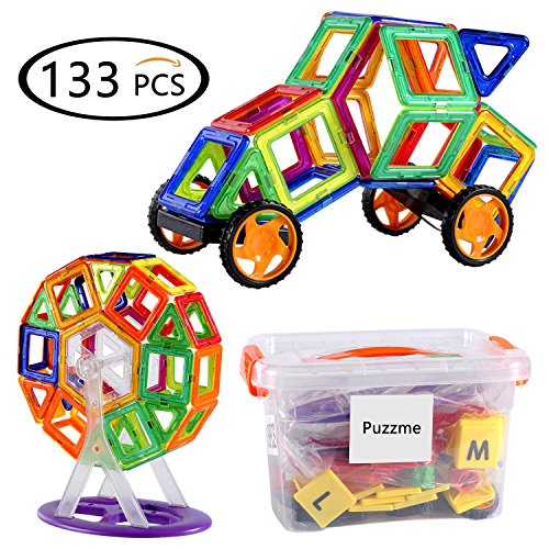 Puzzme Magnetic Building Blocks, 133 PCS Magnet Building Til