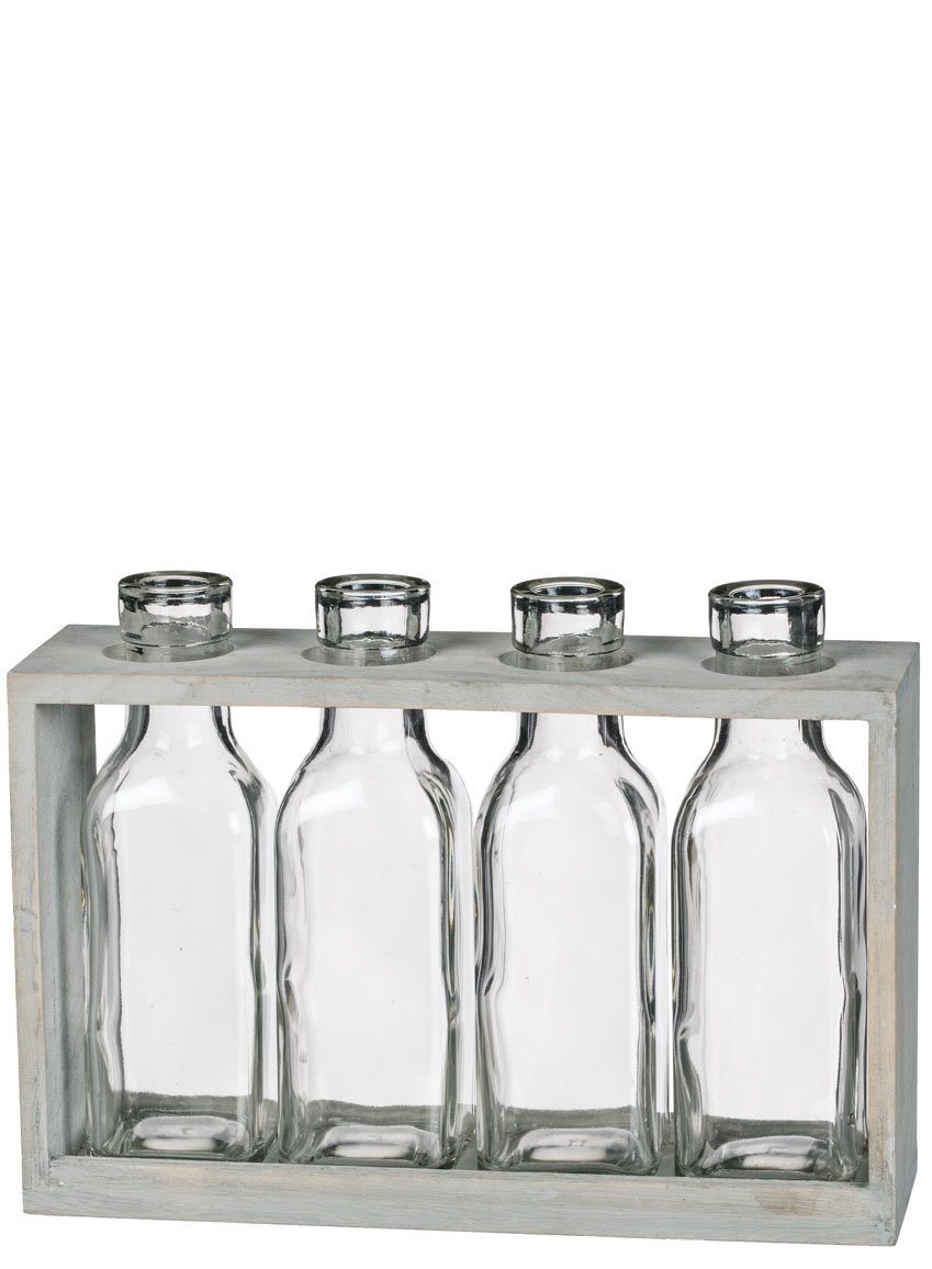 Sullivans 4 Glass Bottles in Wood Crate Display Grey, Clear 9'' x 2'' x 7''