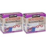 Kirkland Signature Drawstring qrfOSq Kitchen Trash Bags - 13 Gallon, 2Pack (200 Count)