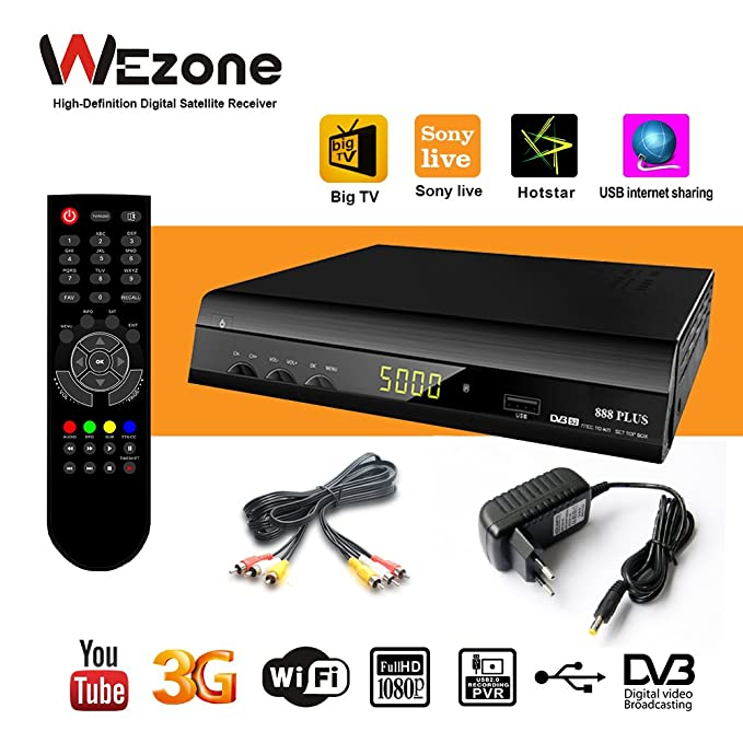 Globstat 888 Plus Free Air DTH with Remote Control (Black)