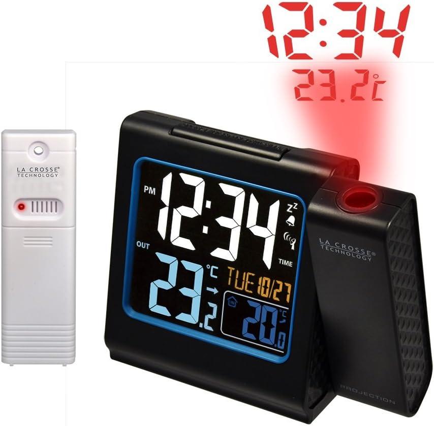 La Crosse Technology WT552 Réveil Radio Piloté avec project Ecran Couleurs Température Int/Ext - Noir