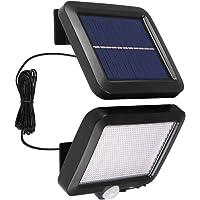 CAMPSLE Luz solar LED, luz de pared con reflector de seguridad de 56 LED con sensor de movimiento PIR, luz impermeable…