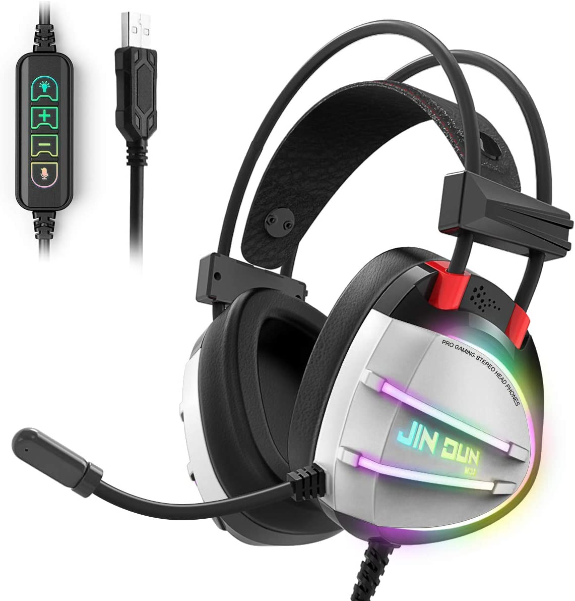 PS4 Gaming Headset, Taotique True 7.1 Surround Sound Headphones with Noise Cancelling Mic, Ergonomic Soft Earmuffs, RGB Lights and in-line Volume Controller USB Computer Headsets for PC Laptop Mac