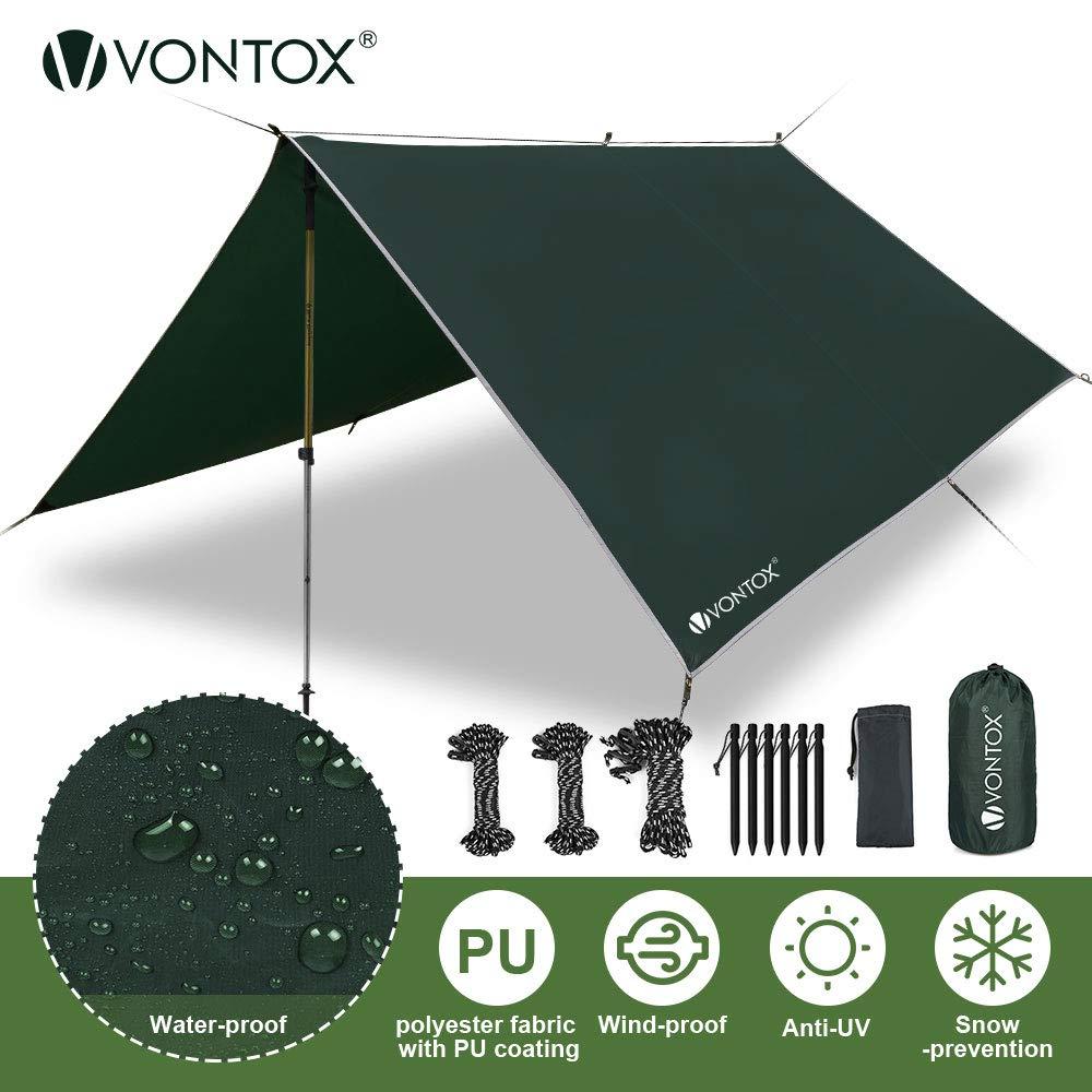 V VONTOX Tent Tarp Waterproof - 10 x 10 Ft, Camping Tarp, Rain Fly Tent Tarp Light Ripstop Fabric, PU3000mm Anti-UV, 6 Aluminum Tent Stakes + 8 Guy Lines, for Camping, Travel, Outdoor, Hammocks by V VONTOX