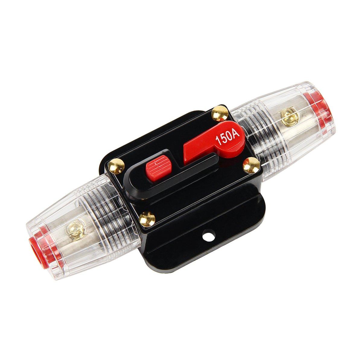 Latinaric 12 V-24 V DC Interruttore di Circuito portafusibile per audio automobile inverter solare, protezione sistema 20A/30A/40A/50A/60A/80A/100A/150A