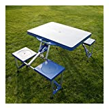 Kids Portable Folding Plastic Picnic Table 4 Seats Blue Outdoor