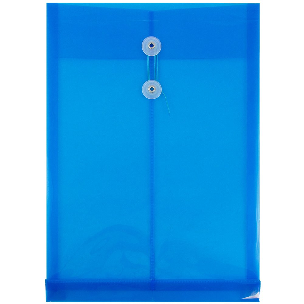 JAM PAPER Plastic Envelopes with Button & String Tie Closure - Legal Open End - 9 3/4 x 14 1/2 - Blue - 12/Pack