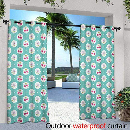 Seafoam Outdoor Curtains Dotted Background with Cherry and Flowers Abstract Flora Motif Embossed Thermal Weaved Blackout 84