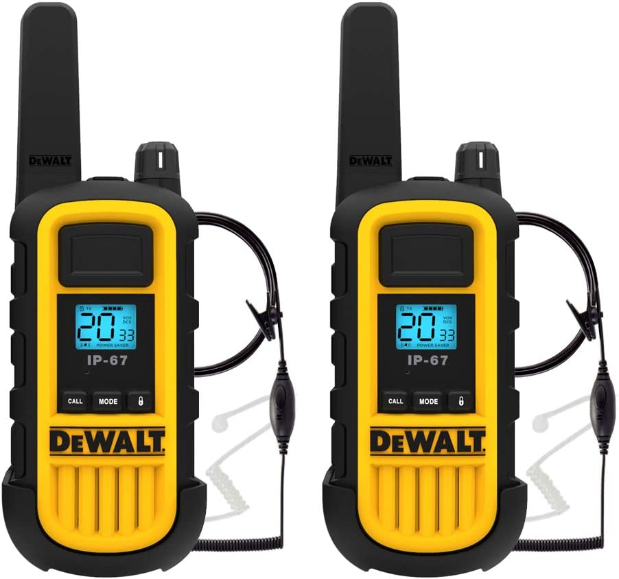 DEWALT DXFRS800 2 Watt Heavy Duty Walkie Talkies with Headsets - Waterproof, Shock Resistant, Long Range & Rechargeable Two-Way Radio with VOX (2 Pack)