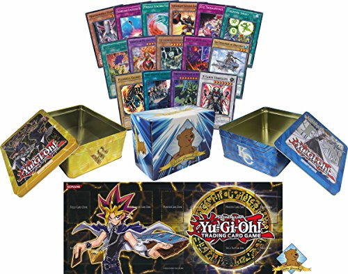 2000 Assorted Yugioh Cards! With Rares and Holos! 1 Yugioh Playmat! Includes 2 Yugioh Tins and 1 Golden Groundhog Storage Box! by GoldenGroundhog
