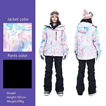 Jiabei Esquí de Las Mujeres Traje Caliente Grueso de la Chaqueta ...