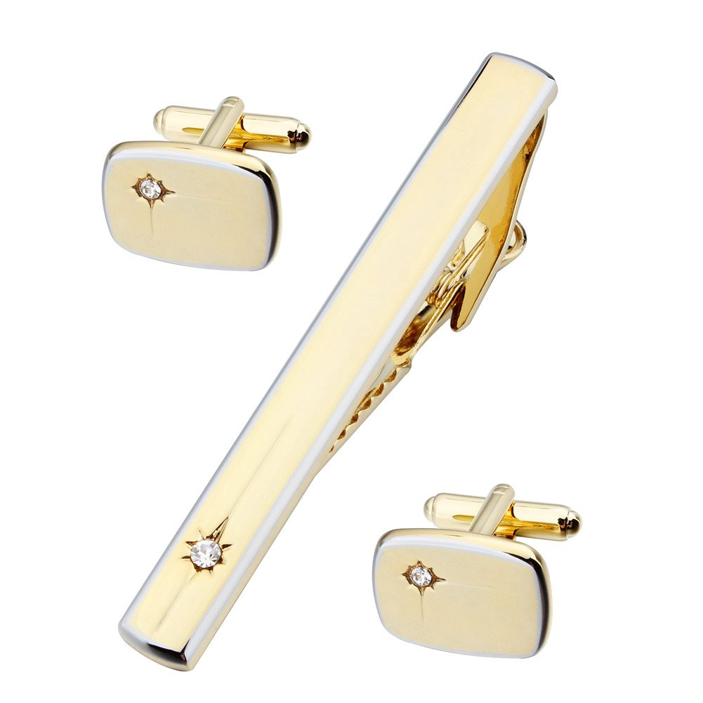 HAWSON Mens Neck Tie Clip and Cuff Links Set - Best Business Wedding Gift (Gold Tone) by HAWSON (Image #1)