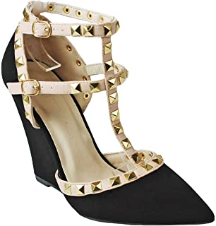 4d8047aeb82 JJF Shoes Designer Rivet Studded Ankle Cuff High Heel Dress Sandal Pumps
