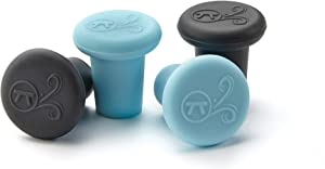 Outset Silicone Wine Bottle Stopper, Set of 4, Black and Blue