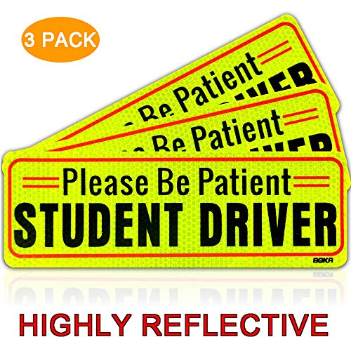 BOKA Set of 3 Student Driver Magnet Highly Reflective New Driver Vehicle Bumper Magnet Car Signs Magnetic Sticker Large Bold Visible Text (10 inches Please be Patient) (New Student Driver)