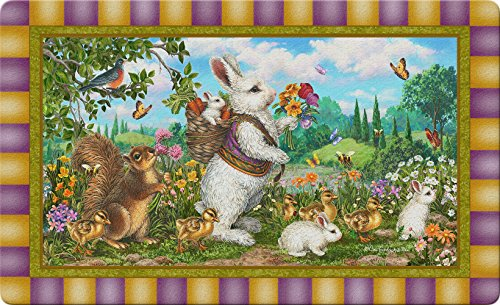 Toland Home Garden Classic Bunny 18 x 30 Inch Decorative Rabbit Floor Mat Spring Easter -
