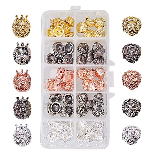 Beads Lion - PandaHall Elite 1 Box 60 PCS 5 Color 2 Style Alloy Lion Head Beads Bracelet Necklace Connector Charm Beads for Bracelet Necklace Earrings Jewelry Making Crafts