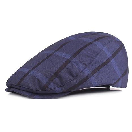 4c2165912015 WY-Bufanda Sombrero Inglaterra Vintage Beret Check Sombrero, Azul ...