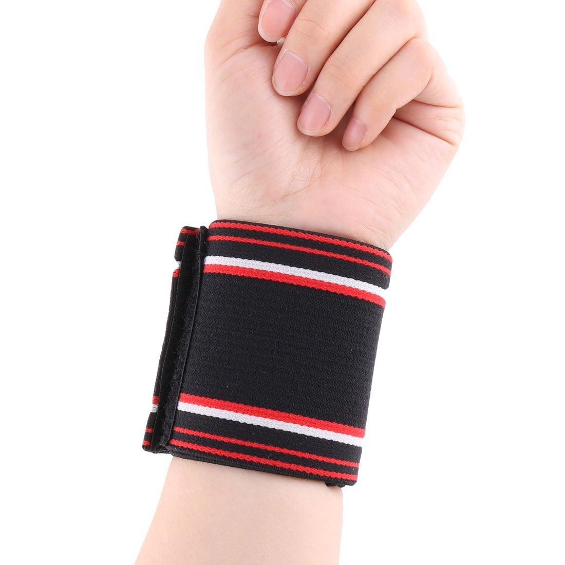 Amazon.com: eDealMax Spandex Unisex elásticas Rayas Deportes Pretector Banda reloj de Apoyo 2pcs Negro: Health & Personal Care