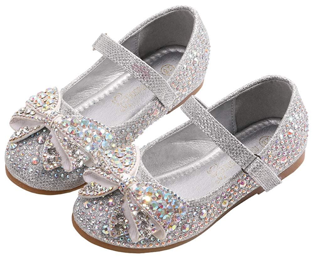 Wentsven Girls Flat Slip On Bling Beaded Dress Shoes Sandals