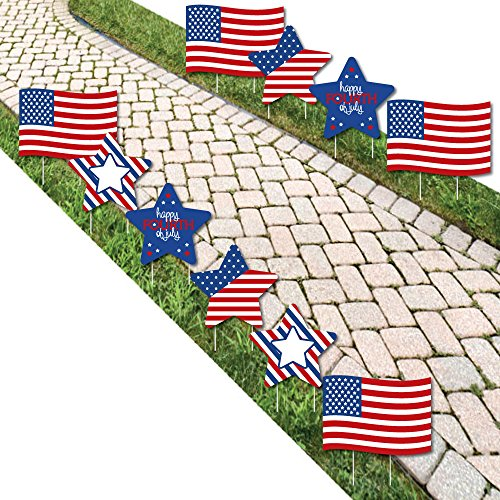 4th of July – Flag and Star Lawn Decorations – Outdoor Fourth Of July Party Yard Decorations – 10 Piece