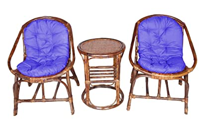 Virasat Furniture/Garden Furniture/Balcony Furniture Set for Outdoor/Indoor Use 1 Table with 2 Chairs & Cushion/Color-Brown