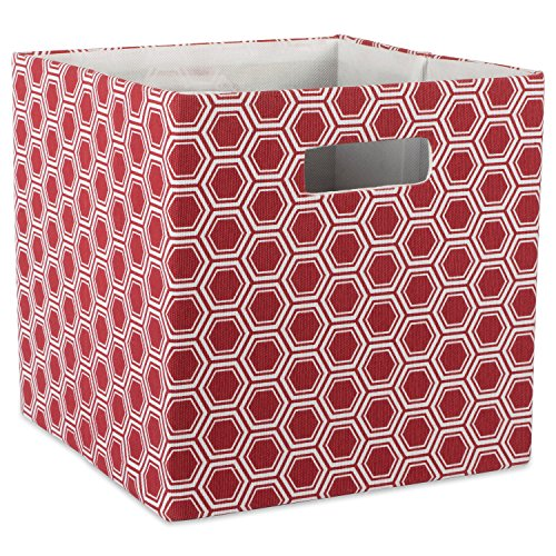 DII Hard Sided Collapsible Fabric Storage Container for Nursery, Offices, & Home Organization, (11x11x11) - Honeycomb Rust