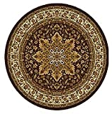 Home Dynamix Royalty 8083-500 Brown 5-Feet 2-Inch Round Traditional Area Rug